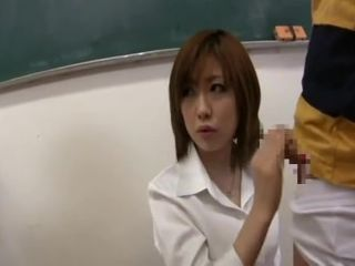 Teen Japanese girl sucks her student in classroom
