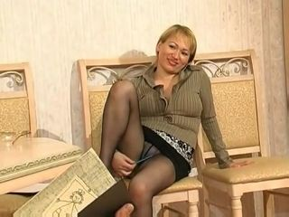 Concupiscent office woman turns young guy on