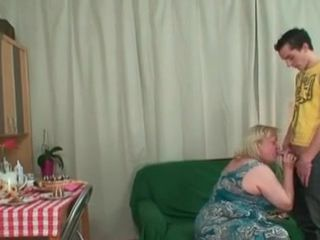 Grandmother prepared the best present for boy - blowjob