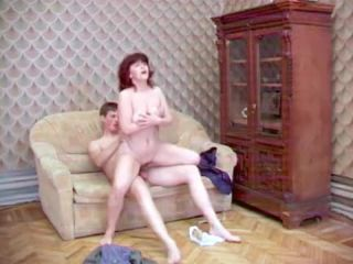 Mature female with red hair asked son to fuck her