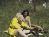 Old woman and  dude have threesome with canine outdoors