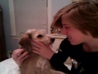 Perverted female plays with her watchdog in bed